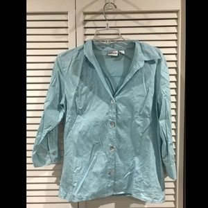 Chico's Women's Turquoise Long Sleeve Button Down